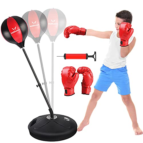 Punching Bag for Kids 3-10, Height Adjustable Boxing Reflex Ball with Stand + Boxing Gloves, Kids Punching Bag Boxing…