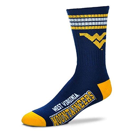 For Bare Feet Mens NCAA 4 Stripe Deuce Crew Socks, West Virginia Mountaineers, Medium (5-10)