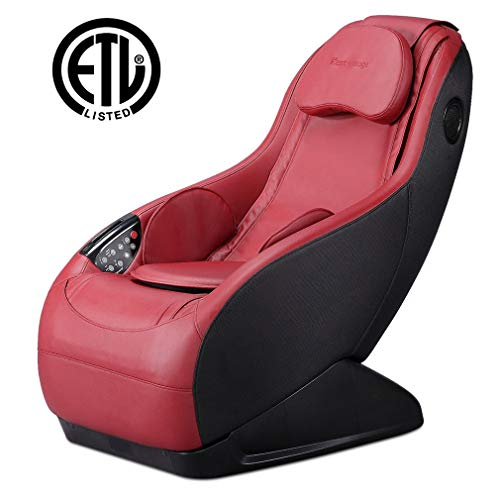 (Fully Assembled Curved Long Rail Shiatsu Massage Chair w/Wireless Bluetooth Speaker and USB Charger PS4 (Burgundy Massage Chair))