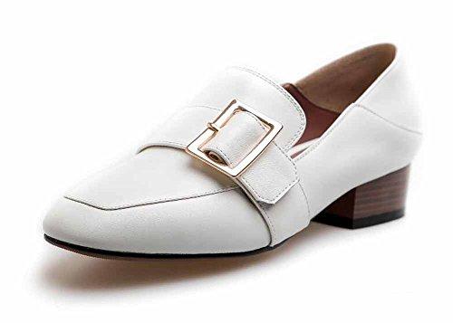Mujeres Mary Jane Pumps Spring New Square Head Zapatos de cuero Metal hebilla Court Shoes Low Heel Blanco