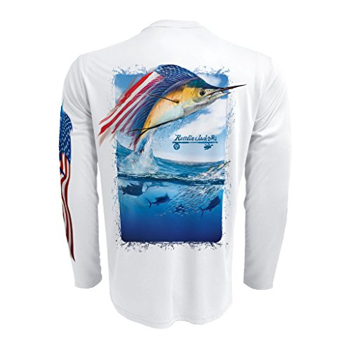 Sleeve Performance Fishing Shirt (Rattlin Jack Men's UPF 50+ Fishing Sailfish Splash Performance Sleeve L White)