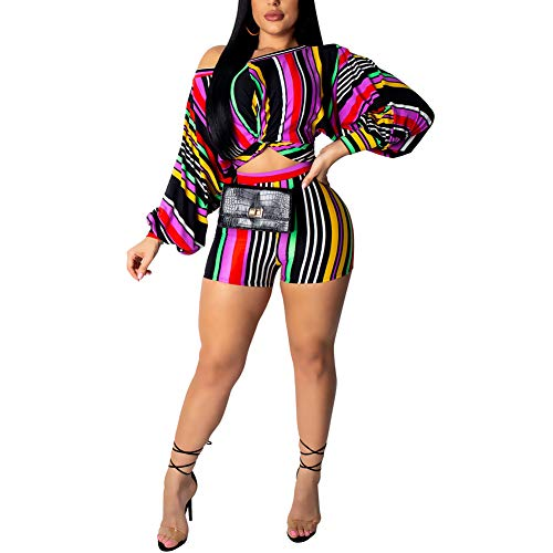 Women Sexy Striped Puff Sleeve 2 Piece Outfit Bohemian Crop Top Shorts Set Jumpsuits Playsuit Multicolor Stripe M ()