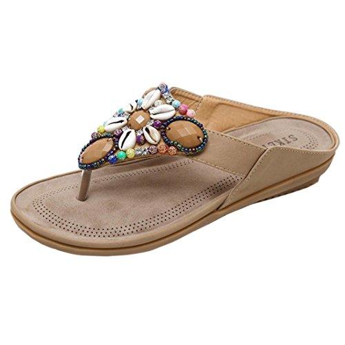 LHWY Sandalen Damen Zehentrenner Frauen Flache Schuhe Perle Böhmen Freizeit Vintage Sommer Strand Rutschfest Peep-Toe Outdoor Schuhe Elegante Retro Slipper Teen Mädchen Gelb