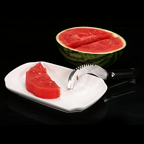 Watermelon slicer [BONUS] 3 Fruit Forks Quality Stainless Steel Blade with Comfortable Black Silicone Handle and Reinforced Tip by Homai (Image #5)