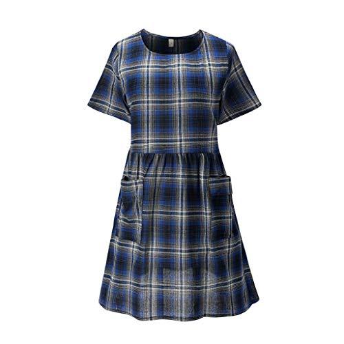 (Women's Large Size Round Neck Plaid Print Pocket Cotton Short Sleeve Long Dress Navy)