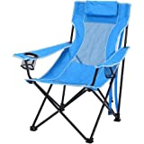 Ozark Trail Durable, Oversized Mesh Lounge Folding Outdoor, Beach, Camp Chair- Includes Carrying Bag- Blue