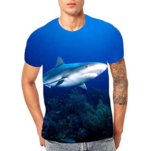 KINGOLDON Men's 3D Flood Printed Short-Sleeved T-Shirt Top Blouse Beach Shirt Outdoor t-Shirt -