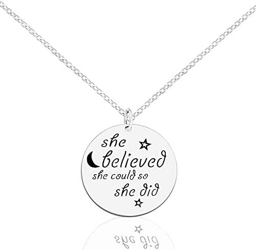 ACJNA Inspirational Necklaces Star Pendant Sterling Silver 925 Necklace She Believed She Could So she Did Jewelry Gift Women Girl