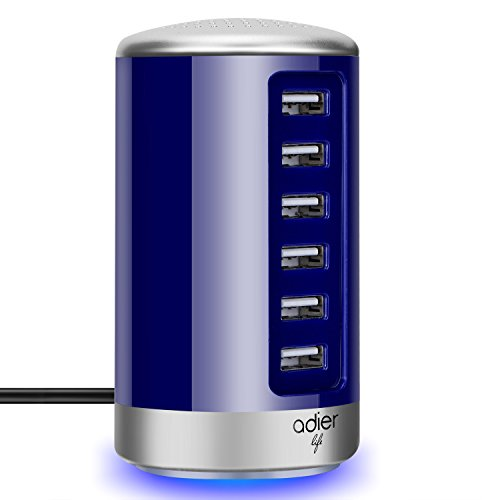 adierlife 6-Port USB Desktop Charger USB Charging Station for Apple iPhone iPad Samsung Galaxy and Other USB Enabled Devices (Blue) by ADIERLIFE