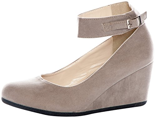 Forever Link Women's PATRICIA-03 Ankle Strap Faux Suede Wedge Pumps,5.5 B(M) US,Taupe Suede
