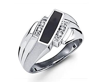 ff9447cce8c Image Unavailable. Image not available for. Color  New Solid 10k White Gold  Black Onyx Diamond Mens Ring