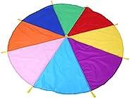 Children Play Parachute Toy 8 Handles 2m Diameter Kids Play Rainbow Outdoor Teamwork Game Parachute Multicolor