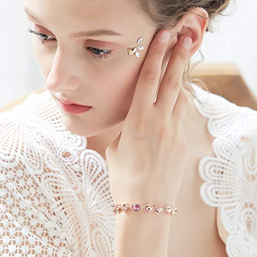 CDE Women's Bracelet, Rose Gold Flower Bangle Bracelets Encounter Love Jewelry Gifts for Girls Women, Crystals from Swaovski by CDE (Image #3)