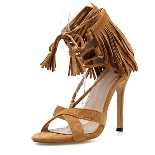 - Womens Tassel Lace-Up High Heel Casual Sandals,Summer Elegant Outdoor Open-Toe Comfy Sexy Party Dress Shoes 2019 Hot Shoes (Brown, US:7)