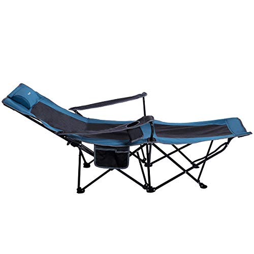 Yolafe Folding Camping Chair Portable Patio Lounge Chaise Heavy Duty with Cup Holder Armrest and Storage Bag Reclining for Fishing Outdoor Activities