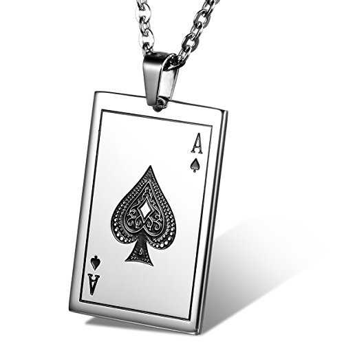 Flongo Men's Punk Rock Stainless Steel Ace of Spades Playing Card Poker Tag Pendant Necklace, 22 inch - Aces Card