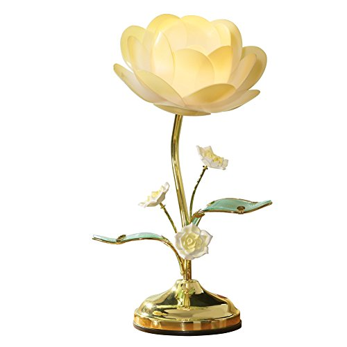 Collections Etc. Lotus Flower Touch Lamp, Table Lamp with Lotus Design, Yellow