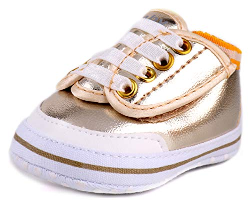 LONSOEN Classic Baby Sneakers for Girls Boys Infant Moccasins First Walking Crib Shoes,BAY203 Gold 0-6 - Crib Shoes Classic