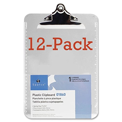 "Value Pack of 12 - Sparco Plastic Clipboards-Transparent Plastic Clipboard, 9""x12-1/2"", Clear"