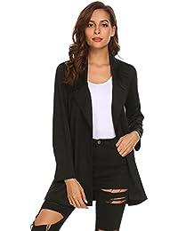 Womens Casual Work Office Open Front Long Blazer Jacket