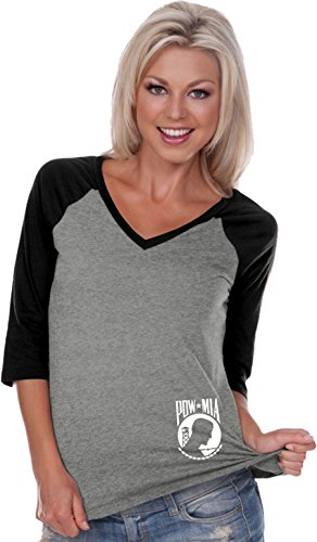 (Ladies Pow Mia Bottom Print V-neck Raglan, Grey Black,)
