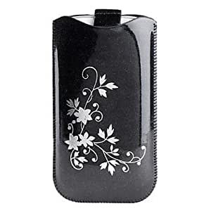 Leaf Pattern Crystal PU Leather Pouch for Samsung Galaxy I9250 and I9300 (Assorted Colors) --- COLOR:Black