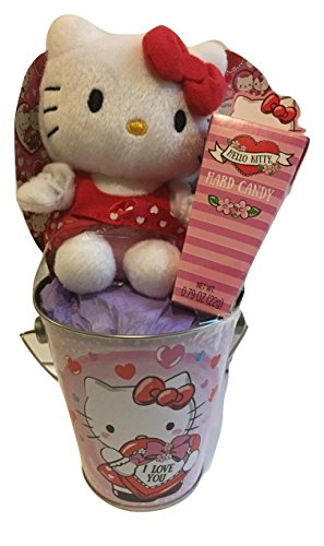 Hello Kitty Valentine Gift Set Bundle - White Hello Kitty Plush, I Love You Metal Tin Bucket and Hard Candy - 3 Items