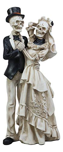 Ebros Love Never Dies Wedding Bride and Groom Skeleton Couple in Dancing Pose Figurine 13.5