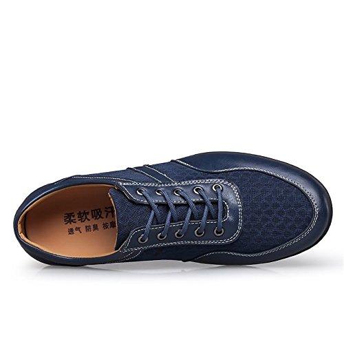 2018 EU Splice Flat Mocassini British Style Heel Lace Dimensione Color moda Cachi Up da 45 Yajie Loafer Color Solid Men's Uomo alla Vamp Scarpe Blu Driving shoes a5qw8x4