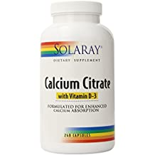 Solaray Calcium Citrate with Vitamin D-3 Capsules, 1000mg, 240 Count