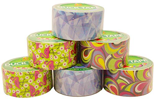Duck Duct Tape Set, Stained Glass, Peacock, Flamingo, 2 of Each 1.88 x 10 Yards (Pack of ()