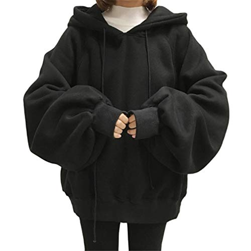 Rabbit Moon Tracksuit - Long Lantern Sleeve Womens Oversized Hoodies Femme Tracksuits Plus Size Sweatshirts Tops Pullovers Sudadera Black XXL