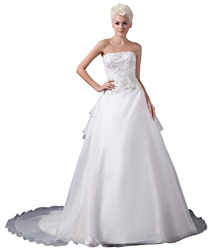 Vogue007 Womens Strapless Satin Pongee Wedding Dress with Floral, ColorCards, 16 by Unknown