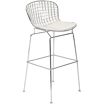 Amazon Com Bertoia Wire Bar Stool Chair 3 White