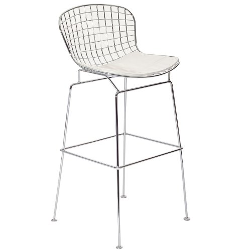 Modway CAD Modern Wire Frame Faux Leather Upholstered Counter Bar Stool in White