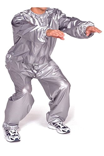 8a94c30a9c9 2 Piece Unisex Neoprene Sauna Workout Burning Fat Weight Loss Sweat Suit  Silver (XL)