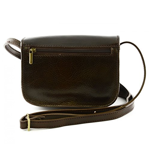 Leather Bag Tuscan In Genuine Bag Woman Leather Mini In Compartments Color With 3 Dark Woman Italy Made Brown Crossbody S4qnAanU