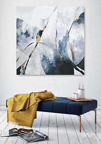 Fox Art Oil Paintings Wall Art Decorative Abstract Painting with Gold Metallic Foil Hand Painted Modern Stripes Canvas Wall Decor for Living Room Bedroom Stretched and Framed Ready to Hang 32x32Inch
