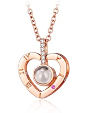 arrive Rose Gold Heart-shaped S925 sterling silver projection 100 languages I love you Charm pendant necklace for women choker lover gift