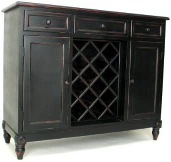 Wayborn Home Furnishing Furniture Sideboard with Wine Rack, Antiue Black