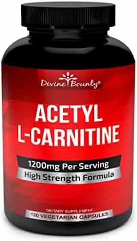 Acetyl L-Carnitine Capsules 1200mg Per Serving - L Carnitine Supplement 120 Vegetarian Capsules