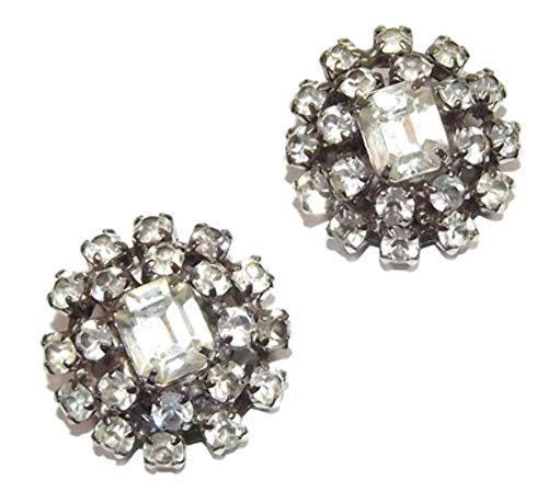 Vintage Mid-Century Modern Clip Back Rhinestone Cluster Earrings ()
