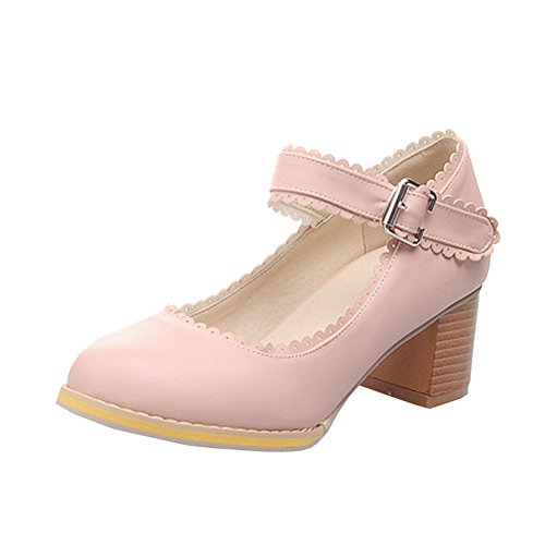 High Round Pink Chunky Toe Lace Office Pumps Student Shoes Wedding Ladies Work Bridal Heels Middle Women's fereshte nqwAgEYw