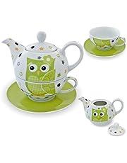 """Porseleinen theeset""""Tea for One"""" theeservies met theepot, kopje, schoteltje groen/wit/uil"""