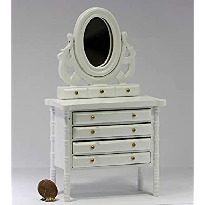 Dollhouse Miniature 1:12 Scale White Dresser with Ornate Mirror: Toys & Games