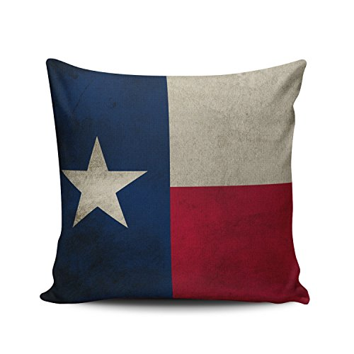 Covers Case Blue Red and White Texas Grunge Lone Star Flag Decorative Pillowcase Cushion Cover 18 x 18 Inch Square Size One Side Design Printed ()