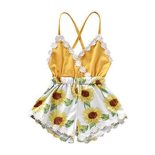 Newborn Summer Toddler Baby Girl Clothes Cute Watermelon Print Lace Trim Backless Romper Shorts Jumpsuit (Yellow 1, 3-6 Months(70))