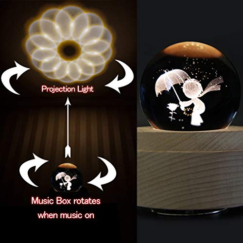 Amperer 3D Crystal Ball Music Box Little Prince Luminous Rotating Musical Box with Projection LED Light and Wood Base Best Gift for Birthday Christmas (A4 Little Prince) by Amperer (Image #1)