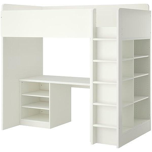 Amazon Com Ikea Twin Size Loft Bed Combo W 2 Shelves 3 White 10382 11529 44 Furniture Decor
