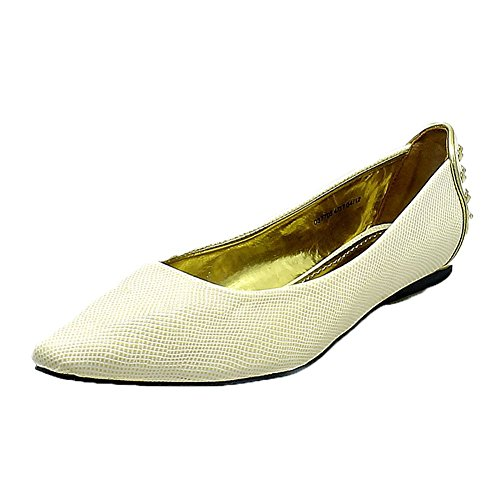 flat Ladies toe White to studded with shoes back pointed detail EEapq4